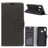 Wove PU kožené peňaženkové puzdro na Xiaomi Mi 8 - čierne
