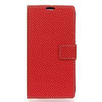 Wove PU kožené peňaženkové puzdro na Xiaomi Mi 8 - červené