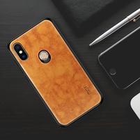 MOF silikónový obal s PU koženým chrbtom na Xiaomi Mi 8 - hnedý