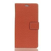 Wove PU kožené peňaženkové puzdro na Xiaomi Mi 8 - hnedé