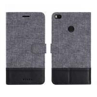 Muxa textilné/ PU kožené puzdro na Xiaomi Mi Max 2 - čierne