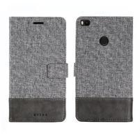 Muxa textilné/ PU kožené puzdro na Xiaomi Mi Max 2 - sivé
