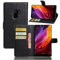 Cross PU kožené puzdro pre mobil Xiaomi Mi Mix - čierne