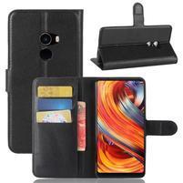 Wallet PU kožené puzdro na Xiaomi Mi Mix 2 - čierne
