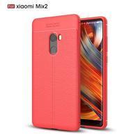 Litchi odolný obal s texturovaným zadným dielom na Xiaomi Mi Mix 2 - červený