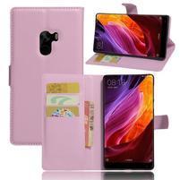 Cross PU kožené puzdro pre mobil Xiaomi Mi Mix - ružové