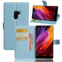 Cross PU kožené puzdro pre mobil Xiaomi Mi Mix - svetlomodré