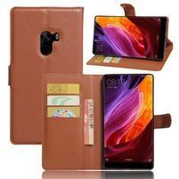 Cross PU kožené puzdro pre mobil Xiaomi Mi Mix - hnedé