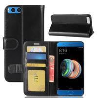 Wallet PU kožené puzdro na Xiaomi Mi Note 3 - čierne