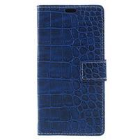 Croco PU kožené puzdro na mobil Xiaomi Mi Note 3 - modré