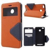 Peňaženkové PU kožené puzdro s okienkom na Xiaomi Redmi 3S - oranžové
