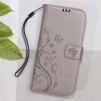 Butterfly PU kožené peňaženkové puzdro na Xiaomi Redmi 3S a 3 Pro - sivé