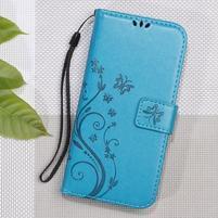 Butterfly PU kožené peňaženkové puzdro na Xiaomi Redmi 3S a 3 Pro - modré