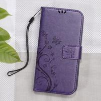 Butterfly PU kožené peňaženkové puzdro na Xiaomi Redmi 3S a 3 Pro - fialové