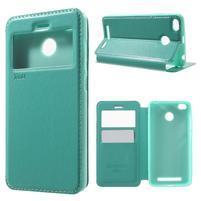 Noble PU kožené puzdro s okienkom na Xiaomi Redmi 3S a 3 Pro - cyan