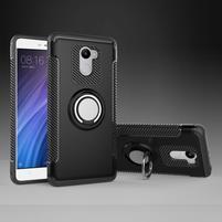 Ring odolný obal s držiakom na Xiaomi Redmi 4 - čierny