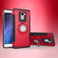 Ring odolný obal s držiakom na Xiaomi Redmi 4 - červený