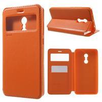Noble PU kožené puzdro s okienkom na Xiaomi Redmi Note 4 - oranžové
