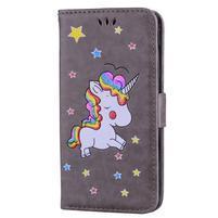 Unicorn peňaženkové puzdro na mobil Xiaomi Redmi Note 4 - sivé