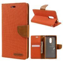 Canvas PU kožené/textilní puzdro pre mobil Xiaomi Redmi Note 4 - oranžové