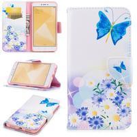 Patty zapínacie peňaženkové puzdro na Xiaomi Redmi Note 4 - motýľ a kvetiny