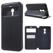 Noble PU kožené puzdro s okienkom na Xiaomi Redmi Note 4 - čierne
