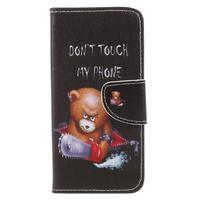 Emotive peňaženkové zapínacie puzdro na Xiaomi Redmi Note 4X - zlostný medvedík