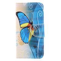 Emotive peňaženkové zapínacie puzdro na Xiaomi Redmi Note 4X - modrý motýľ