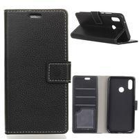 Litch PU kožené peňaženkové puzdro na Xiaomi Redmi S2 - čierne