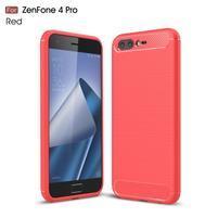 Carbon odolný gélový obal s brúsením na Asus Zenfone 4 Pro ZS551KL - červený