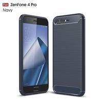 Carbon odolný gélový obal s brúsením na Asus Zenfone 4 Pro ZS551KL - tmavo modrý