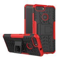 Outdoor odolný obal s výklopným stojančekom na Asus ZenFone Max Plus (M1) ZB570TL - červený