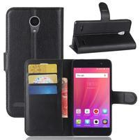 Litch PU kožené peňaženkové puzdro na ZTE Blade A521 - čierne