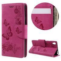 Butterfly PU kožené puzdro na Sony Xperia E5 - rose
