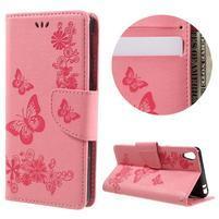 Butterfly PU kožené puzdro na Sony Xperia E5 - růžové