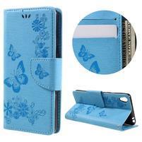 Butterfly PU kožené puzdro na Sony Xperia E5 - světledmodré