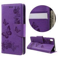 Butterfly PU kožené puzdro na Sony Xperia E5 - fialové