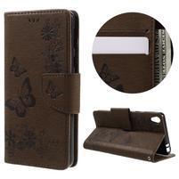 Butterfly PU kožené puzdro pre Sony Xperia E5 - hnedé