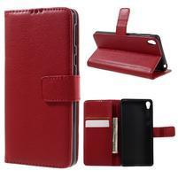 Leathy PU kožené puzdro pre Sony Xperia E5 - červené