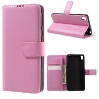 Leathy PU kožené puzdro na Sony Xperia E5 - růžové