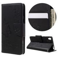 Butterfly PU kožené puzdro pre Sony Xperia E5 - čierne