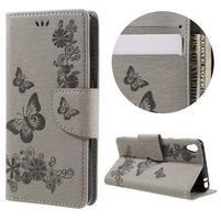 Butterfly PU kožené puzdro pre Sony Xperia E5 - sivé