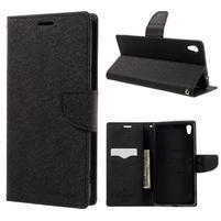 Diary PU kožené puzdro pre mobil Sony Xperia XA Ultra - čierne