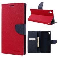 Diary PU kožené puzdro pre mobil Sony Xperia XA Ultra - červené