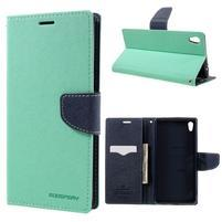 Diary PU kožené puzdro pre mobil Sony Xperia XA Ultra - azurové
