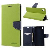 Diary PU kožené puzdro pre mobil Sony Xperia XA Ultra - zelené