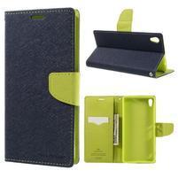 Diary PU kožené puzdro pre mobil Sony Xperia XA Ultra - tmavomodré
