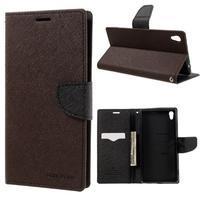 Diary PU kožené puzdro pre mobil Sony Xperia XA Ultra - hnedé