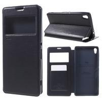 Richi PU kožené puzdro s okienkom na Sony Xperia XA Ultra - tmavomodré