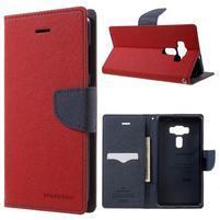 Diary PU kožené puzdro pre mobil Asus Zenfone 3 Deluxe - červené